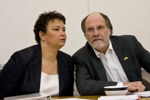 Then DEP Commissioner Lisa Jackson whispers in Governor Jon Corzine's ear