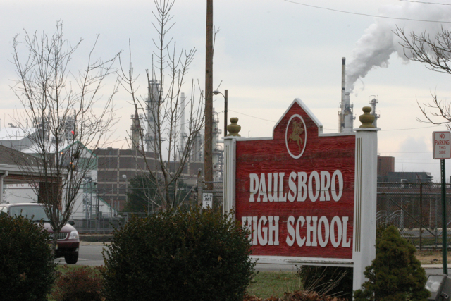 Valeror oil refienry dwarfs Paulsboro High School. The refiernry emits thousands of pounds of toxic chemicals to the local air. Major upsets have coated buildings in toxic fallout. Would you send you child to this school?