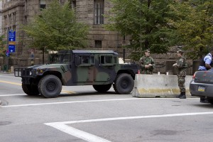 Downtown Pittsburgh in military lockdown.