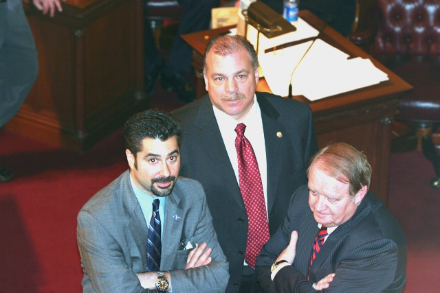 Senator Sweeney (center) consults with Senate President Codey (right) on Senate floor