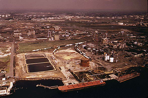 Aerial View (Looking Northwest) of DuPont and GAF Plants DuPont Plant In Foreground Along Arthur Kill GAF Plant Slightly West of DuPont Plant Photo:  EPA 1974