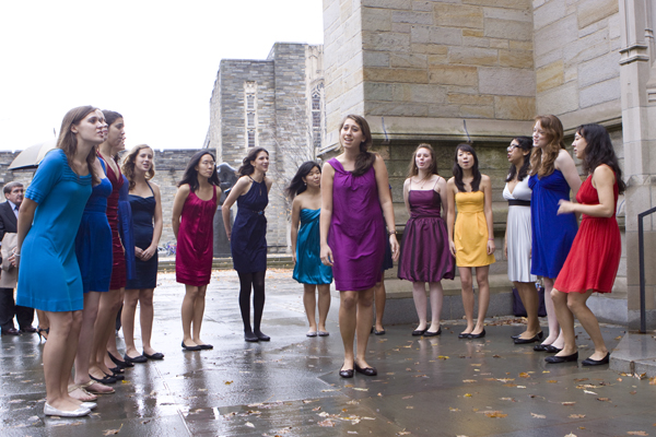 Young women sing at Princeton chapel wedding today (It's a Beautiful Day - the inspiration for this post)