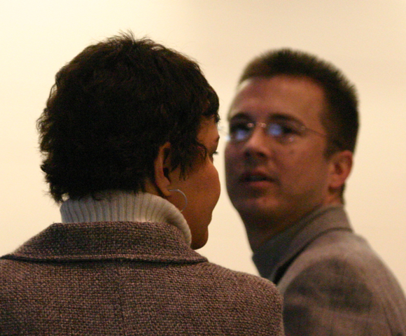 Adam Zellner (facing) then DEP Deputy Commissioner talks with Lisa Jackson, DEP Commissioner (2/8/08)