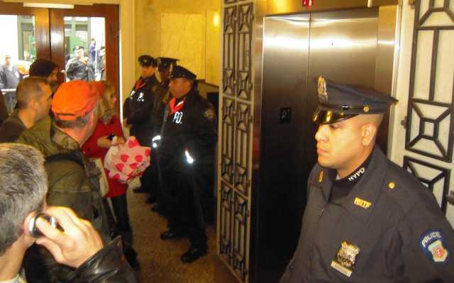In the lobby of NRDC building - NYC police block access to NRDC offices (that's me in the orange hat!) Source: NYC Independent media story above - all other photo's are mine