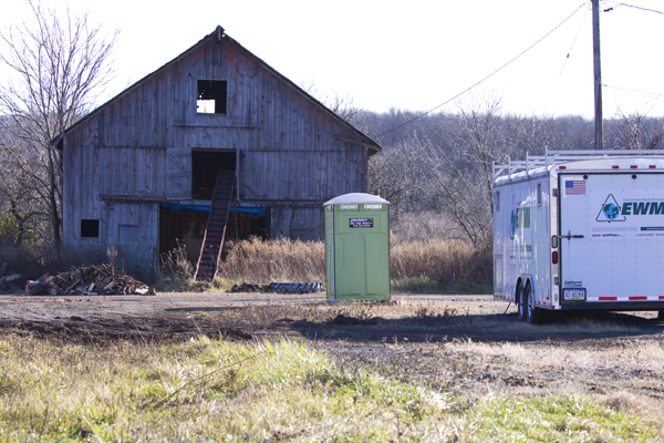 Old barn, porta pottie, and toxic site cleanup truck. Hopewell Borough, NJ