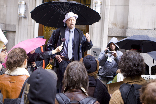 Jim Hanson speaks to activists outside NRDC building in New York